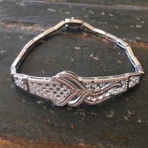 925 Silver Decorative Clear Crystal Bracelet.